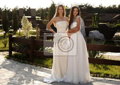 3aa89a8f87 Fototapeta piękne dziewczyny na sobie eleganckie suknie i luksusowe koronę