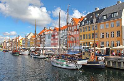 Piękne kolorowe budynki w Kopenhaga, Dania