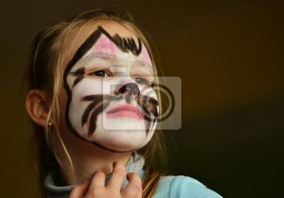 Piękne Kot Malowanie Twarzy Fototapeta Fototapety Dzień Wszystkich
