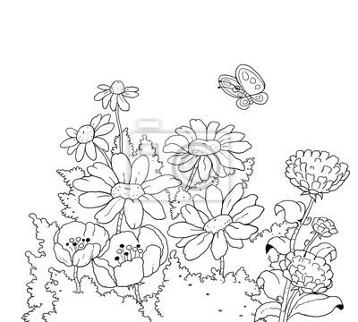 foto de Piękne kwiaty bajka kolorowanka ilustracja dla dzieci