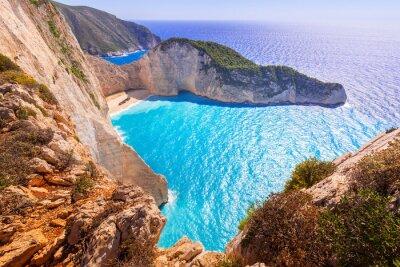 Fototapeta Piękne Navagio Beach (Shipwreck Beach), na wyspie Zakynthos, Grecja