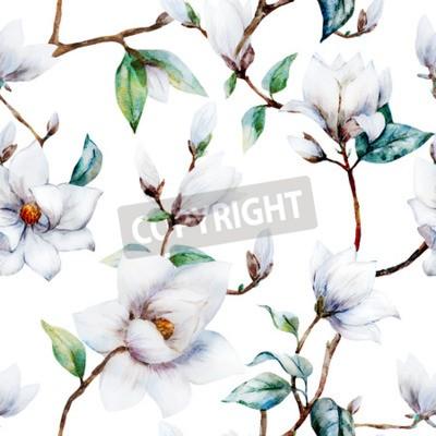 Fototapeta Piękne rastrowy wzór z Nicei kwiatów magnolii Akwarele