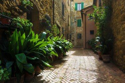 Fototapeta Piękne uliczki średniowiecznego toskańskiej wiosce we Włoszech, Pienz