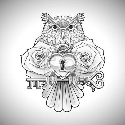 Fototapeta Piękne Wzornictwo Czarny Tatuaż Sowa Posiadania Klucza Z Medalionu