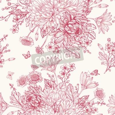 Fototapeta Piękne zabytkowe szwu z bukietami czerwonych kwiatów
