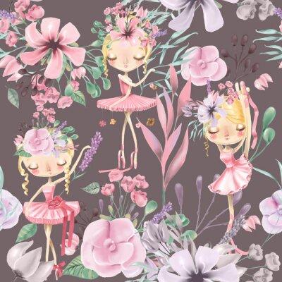 Fototapeta Pięknej akwareli kwiecisty bezszwowy wzór z ślicznymi baletniczymi dziewczynami, baleriny. Streszczenie róże, piwonia, bzy i oddziałów na ciemnym tle