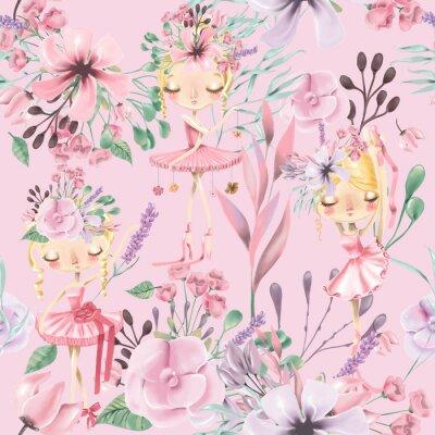 Fototapeta Pięknej akwareli kwiecisty bezszwowy wzór z ślicznymi baletniczymi dziewczynami, baleriny. Streszczenie róże, piwonia, bzy i oddziałów na różowym tle