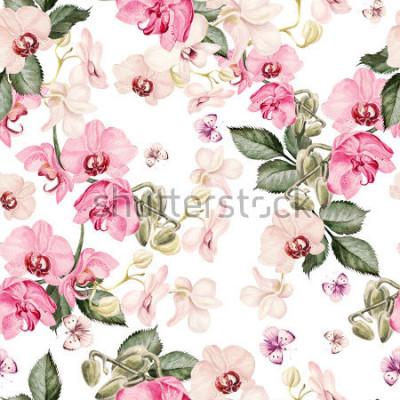 Fototapeta Piękny akwarela wzór z orchidei kwiatów. Ilustracja.