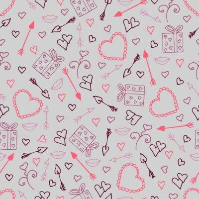 Fototapeta Piękny bezszwowy wzór z sercami, strzała dla kochanków.