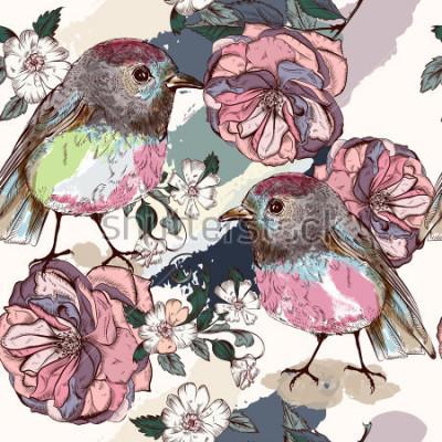 Fototapeta Piękny botaniczny wzór w stylu vintage z ptaków i róż