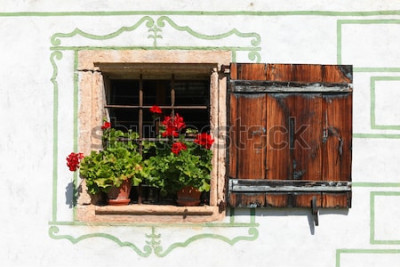 Fototapeta Piękny dom na wsi z kwiatami