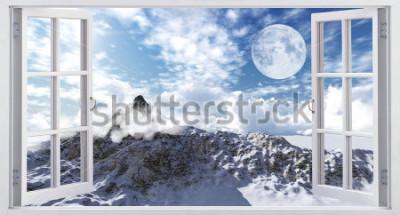 Fototapeta Piękny krajobraz górski, widok z okna.