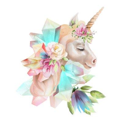 Fototapeta Piękny, ładny, akwarela jednorożca głowy z kwiatów, kwiatowy korony, bukiet i magiczne kryształy na białym tle