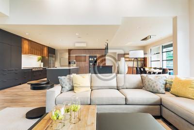 Fototapeta Piękny Salon Wnętrza W Nowym Luksusowym Domu Z Widokiem Na Kuchni