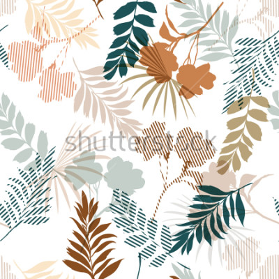 Fototapeta Piękny sylwetki tropikalny ulistnienie i wypełnienie w lampasach opuszczane w kolorowym trybie idealne wypełnione w wektorze dla modnych tkanin i wszystkich druków na bielu