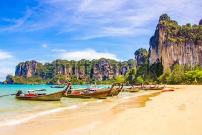 Fototapeta Piękny tropikalny raj Railay plaża w Krabi inThailand