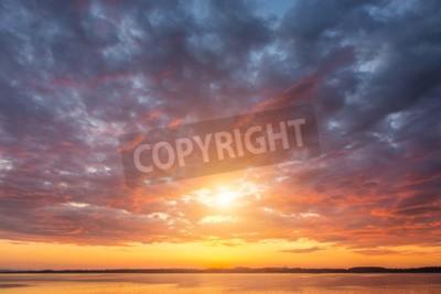 Fototapeta Piękny zachód słońca ovet jezioro Alp Austria