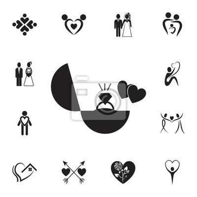 Pierścionek Zaręczynowy I Ikona Serca Zestaw Elementów Ikona