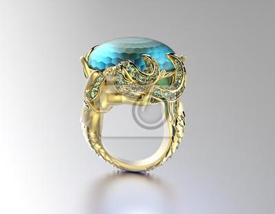 Pierścionek Zaręczynowy Z Akwamaryn Lub Moissanite Biżuteria
