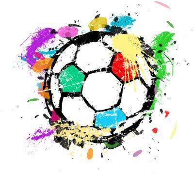 Fototapeta Piłka nożna czy piłka nożna ilustracji wektorowych, wielobarwny farby splas