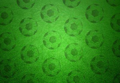 Fototapeta Piłka nożna kulki wzór na zielonym tle trawy. Koncepcyjnego kopii nożnej obszar tła.
