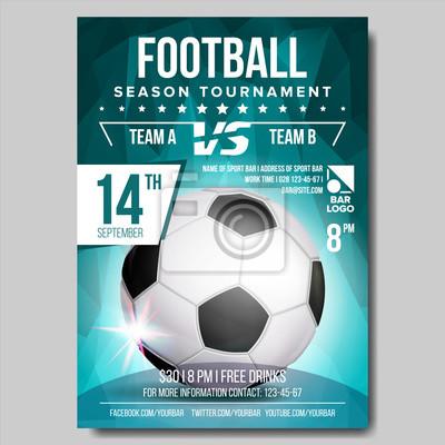 Fototapeta Piłka Nożna Plakat Wektor Baner Reklamowy Ogłoszenie O Wydarzeniu