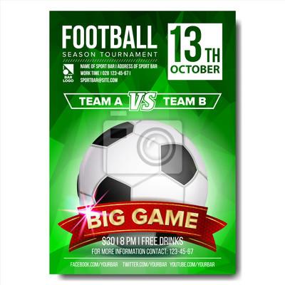 Fototapeta Piłka Nożna Plakat Wektor Piłka Nożna Design Do Promocji Sport