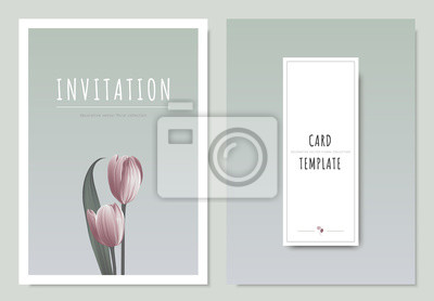 Fototapeta Pink Tulip Flower With Leaf Minimal Invitation Card Template