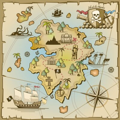Fototapeta Pirate Treasure Island map wektorowych