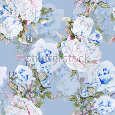 Fototapeta Piwonie i róże akwarela ilustracja wzór