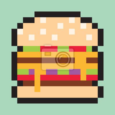 Fototapeta Pixel Art Minimalistyczna Burger Płaskie Fast Food Wektor