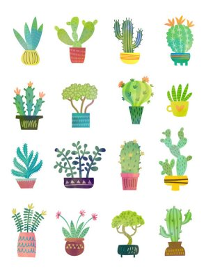 Fototapeta plakat akwarela kaktus