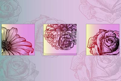 Fototapeta Plakat Gotowy Do Druku Kwiaty Botanika Piękne Szkic Kwiatów