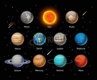 Fototapeta Planet kolorowe wektora ustawić na ciemnym tle, ustaw Planet wektorowych. Planeta 3D ikony elementów infografika. Planety kolekcji sylwetkę. Planety ilustracji wektorowych 3D ikony