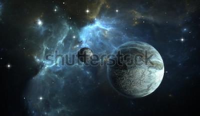 Fototapeta Planeta pozasłoneczna. Kamienna planeta z księżycem na mgławicy tło. Ilustracja 3D