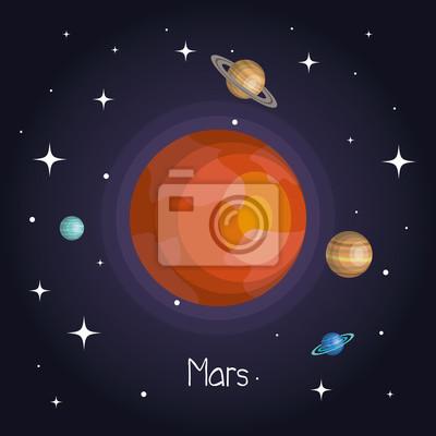 Fototapeta Planeta w przestrzeni kosmicznej z gwiazdami błyszczące cartoon stylu ilustracji wektorowych