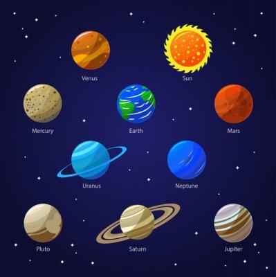 Fototapeta Planety Układu Słonecznego i Sun. Wektor