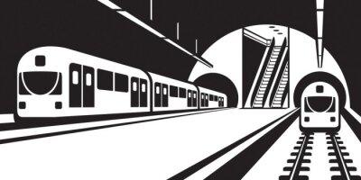 Fototapeta Platforma stacji metra z pociągami - ilustracji wektorowych