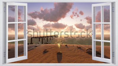 Fototapeta Plaża, widok z okna.