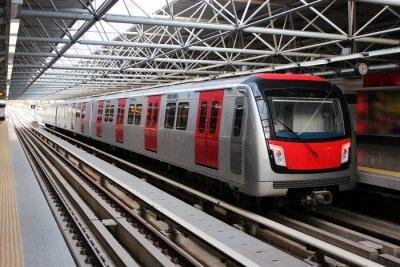 Fototapeta Pociąg metra na stacji metra