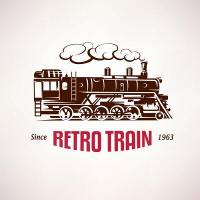 Fototapeta Pociąg retro, vintage, vector, Symbol, emblemat, szablon etykiety