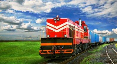 Fototapeta Pociąg towarowy z miejsca na tekst
