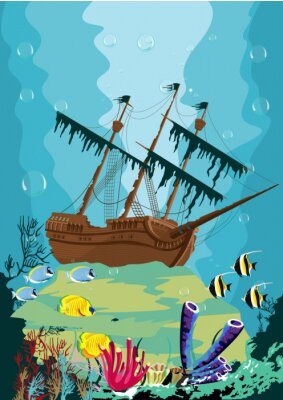 Fototapeta podwodny krajobraz ze starym statkiem pirackim