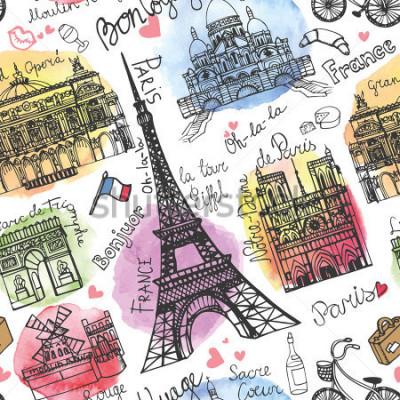 Fototapeta Point orientacyjny w Paryżu, napis wzór. Akwarela stone.Vintage doodle.W języku francuskim dobra podróż, cześć, Notre Dame, Wieża Eiffla, Sacre Coeur, Grand Opera, Łuk Triumfalny, Moulin Rouge.Vector