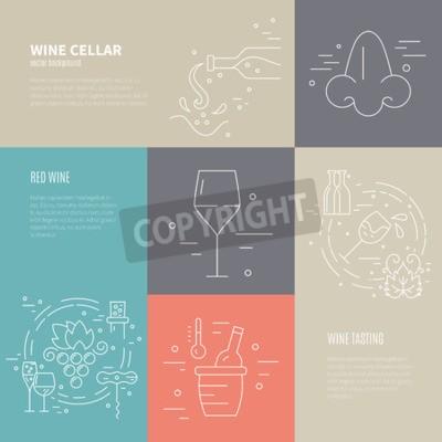 Fototapeta Pojęcie wektora wina proces podejmowania różnych symboli branżowych wina w tym szkła, winogron, butelka, corckscrew z przykładowy tekst. Idealne tło dla projektu związane wina.
