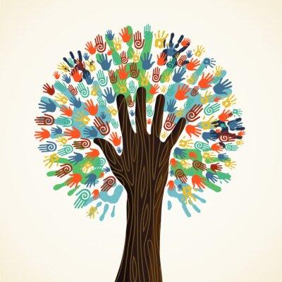 Fototapeta Pojedyncze drzewo różnorodność ręce