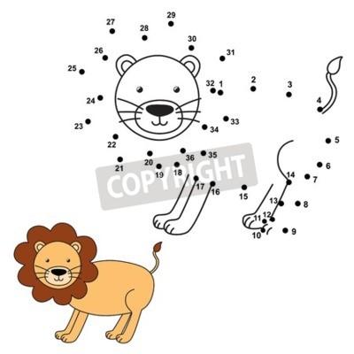 Połącz Kropki Aby Narysować ładny Lwa I Pokolorować Go Numery