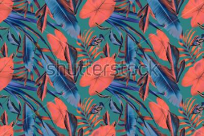 Fototapeta Połączone z tropikalnymi liśćmi deseniowy tło, retro botaniczny chlew