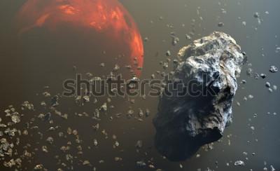 Fototapeta Pole planetoid lub meteorytów w przestrzeni kosmicznej, formowanie się planet. 3d ilustracji