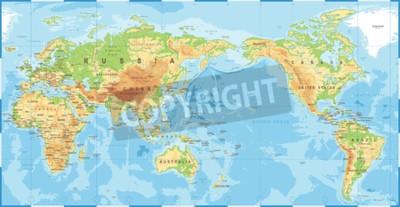 Fototapeta Polityczna fizyczna topograficzna kolorowa mapa świata Pacyfiku wyśrodkowany wektor ikona.